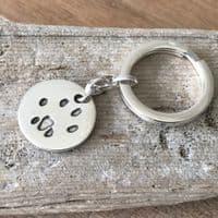 Silver Paw Print Keyring